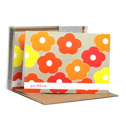 Boxed Note Cards - Flower bunch (Orange)