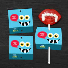 Smiley Monster Blue Lollipop Cards