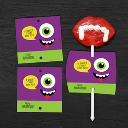 Smiey Monster Purple Lollipop Cards