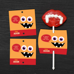 Smiley Monster Orange Lollipop Cards