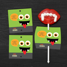 Smiley Monster Green Lollipop Cards