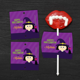 Cute Witch And Broom Lollipop Cards