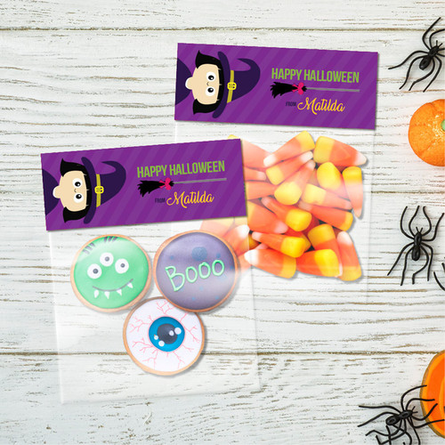 Cute Witch And Broom Treat Bags
