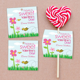 A Valentine's Bee Lollipop Cards Set