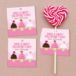 A Sweet Cupcake For Valentine Lollipop Cards Set