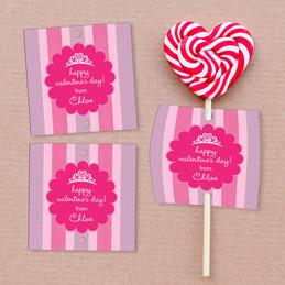 Valentine's Princess Lollipop Cards Set