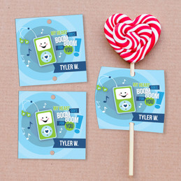 Blue Boom Boom For You Lollipop Cards Set