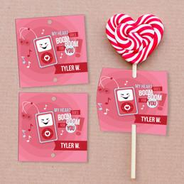 Pink Boom Boom For You Lollipop Cards Set