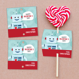 Robot Love Lollipop Cards Set