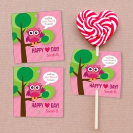 Owl Be Your Girlfriend Lollipop Cards Set