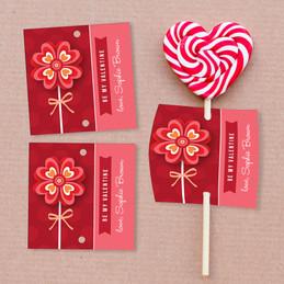Sweet Valentine Flower Lollipop Cards Set