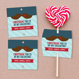 Mustache Love Lollipop Cards Set