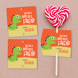 Dinomite Friend Lollipop Cards Set