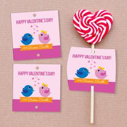 Sweet & Cute Birds Lollipop Cards Set