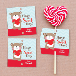 Love Bear Lollipop Cards Set
