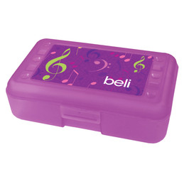 Girly Music Notes Pencil Box