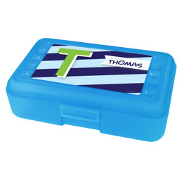 Brilliant Initial Blue Pencil Box