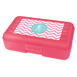 Chevron Pink and Aqua Pencil Box