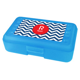 Chevron Navy And Red Pencil Box