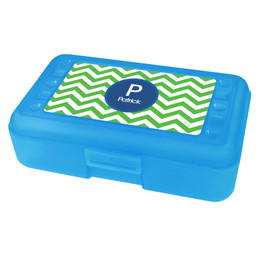 Chevron Green And Blue Pencil Box