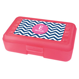 Chevron Blue And Pink Pencil Box