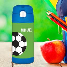 Soccer Fan Green Thermos Bottle