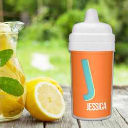 Double Initial Orange Sippy Cup