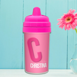 Double Initial Pink Sippy Cup