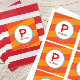 Fun Initials Orange Gift Label Set
