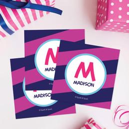 Fun Initials Magenta Gift Label Set