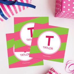 Fun Initials Pink Gift Label Set