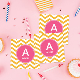 Chevron Mustard & Pink  Gift Label Set