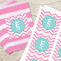 Chevron Pink & Aqua Gift Label Set