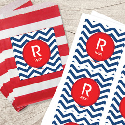 Chevron Navy & Red Gift Label Set