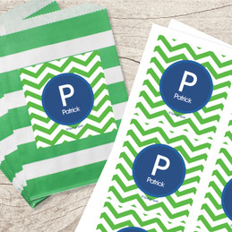 Chevron Green & Blue Gift Label Set