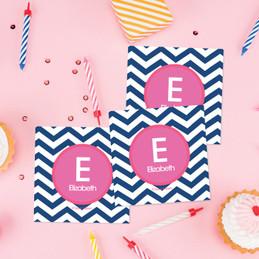 Chevron Blue & Pink Gift Label Set
