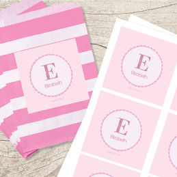 A Shiny Letter Pink Gift Label Set