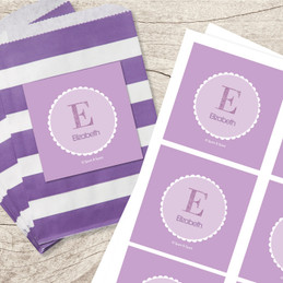 A Shiny Letter Purple Gift Label Set