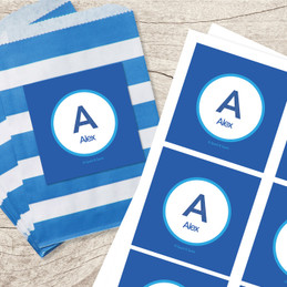 A Linen Letter Blue Gift Label Set