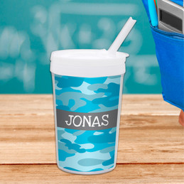 Blue Camouflage Toddler Cup