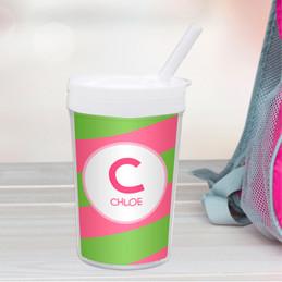 Fun Initials Pink Toddler Cup