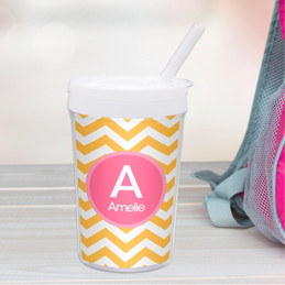 Chevron Mustard and Pink Toddler Cup