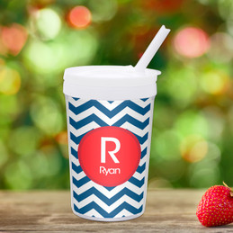 Chevron Navy And Red Toddler Cup