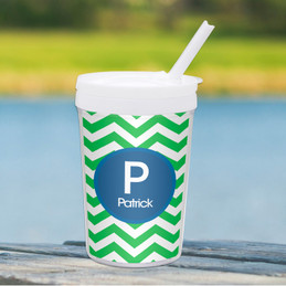 Chevron Green And Blue Toddler Cup