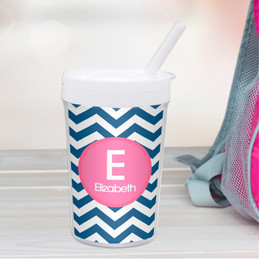 Chevron Blue And Pink Toddler Cup