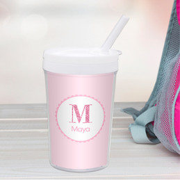 A Shiny Pink Letter Toddler Cup
