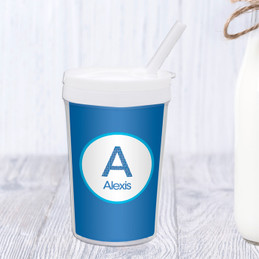 A Linen Blue Letter Toddler Cup