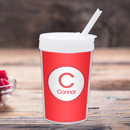 A Linen Red Letter Toddler Cup