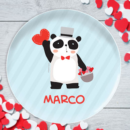 Panda and Hearts Kids Plates