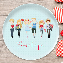 Group of Love Kids Plates